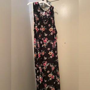 Black Floral Plus Size Maxi Long Dress 3x 20 22